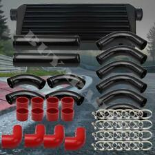 """Black 3"""" 12x Aluminum Intercooler Piping Kit w/Red Silicone Couplers + T-Clamps"""