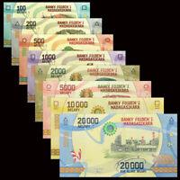 Madagascar Set 8 PCS, 100-20000 Ariary Banknote, 2017,UNC, Africa Paper Money