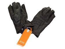 Hugo Boss Lederhandschuhe GR-Gans Gr. 8,5 schwarz Ziegenleder orange Label