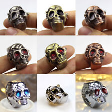 Random Color Skull Design Stretchy Band Quartz Ring Watch for Lady Men Gift