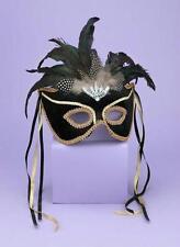 MARDI GRAS BLACK GOLD VENETIAN MASK COSTUME DRESS MASQUERADE PARTY FM56291