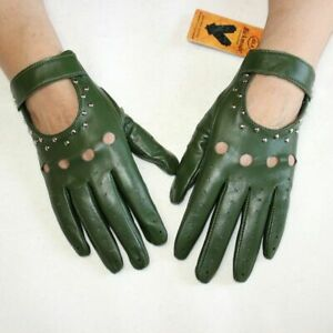 Women's Thin Outdoor Gloves Genuine Leather Fashion Hollow Rivet Driving Mitten
