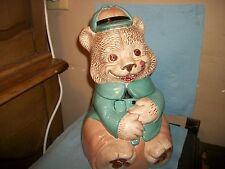 Vintage Cookie Jar Collectible Teddy Bear in cute uniform! 1968