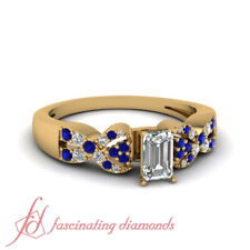 1 Carat Emerald Cut Intertwist Diamond Rings With Round And Sapphire Accents GIA