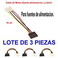 Cable adaptador Molex a Sata. Cable de fuente alimentacion a Sata. Lote 3 piezas