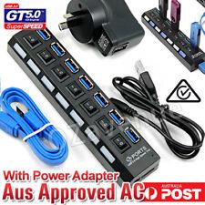 7 Port USB 3.0 HUB Powered +AC Adapter Cable High Speed Splitter Extender PC
