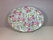 """Norcrest Fine China Cottage Pink and White Roses Oval Platter 16"""" X 12"""""""