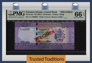 TT PK 34s ND (2017) SOLOMON ISLANDS CENTRAL BANK 20 DOLLARS PMG 66 EPQ GEM UNC.