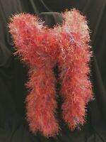 """Handmade  Eyelash Yarn Scarf Fun Fancy Fur Yarn Shiny Orange Blue  67"""" x 5"""" New"""