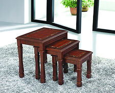 Nest of Tables set of 3, MDF Made in Dark Brown Side Table Grapes Brown