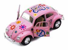 """Kinsmart 5"""" 1967 VW Classic Beetle Peace Decals Diecast 1:32 Volkswagen Pink"""