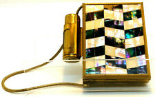 Vintage Compact Kigu Brass & Mother of Pearl Minaudiere Cigarette Case