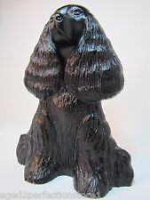 Antique Cast Iron Cocker Spaniel Doorstop ornate detail figural old door stopper