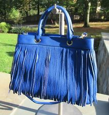 NWT Milly Essex Gorgeous Blue Leather Tote/ Convertible Bag/ Fringe $465