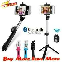 Extendable Bluetooth Remote Selfie Stick Tripod Holder For iPhone-Samsung- W5Q8