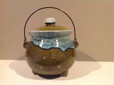 HULL Pottery Avocado and Mint Green Drip Glaze Bean Pot Metal Handle 3-Footed