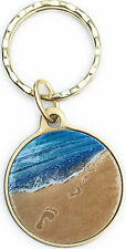 Foot Prints In The Sand Blue Color Bronze Keychain Footprints Key Chain Tag