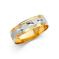 14k Yellow White Gold Two Tone 6mm Diamond Cut Men's Wedding Band Ring  all size
