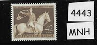 MNH postage stamp / 1943 Brown Ribbon Horse race / Third Reich / Munich Germany