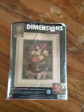 Dimensions Gallery Crewel Embroidery Ginger Jar Bouquet Mccreery Jordan Open Kit