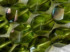 VTG 50  GREEN IRIS NUGGET FIRE POLISHED GLASS BEADS 10mm #052215v