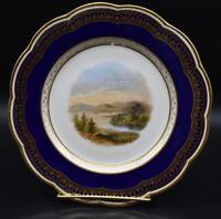 "Davenport English Staffordshire Cobalt Blue & Gold Mountain Lake Scene 9"" Plate"