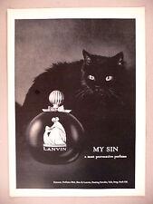 Lanvin My Sin Perfume PRINT AD - 1965 ~ black cat