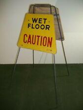 Vintage Wooden Caution Wet Floor Standing Sign Metal Legs Atco Corp 30