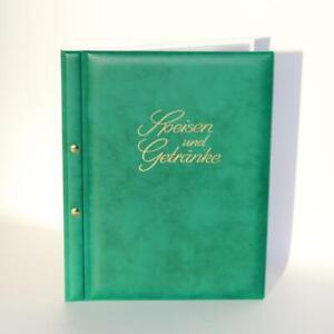 VIOLA SPEISEKARTE A4 mit 5 Sichthüllen, grün - innen weiß mit Goldprägung