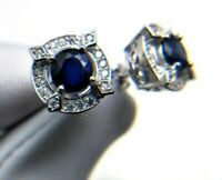 2Ct Round Cut Blue Sapphire Push Back Flower Stud Earring 18K White Gold Finish