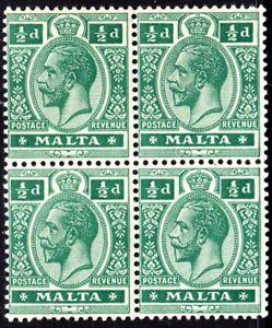 MALTA 1914 KGV SG71a 1/2d DEEP GREEN UNMOUNTED MINT BLOCK OF FOUR