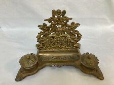 More details for ornate vintage antique style gilt metal or brass desk tidy pen rest inkwells