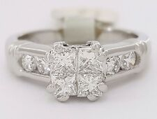 1 ct Platinum Invisible Princess Cut Diamond Engagement Ring 7.4 Gr Rtl $3,200