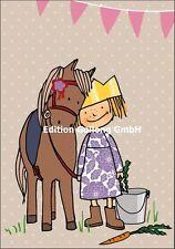 Grußkarte für Kinder*Pferd*Pony*Prinzessin*Glitzer*Krone*Doppelkarte*Klappkarte