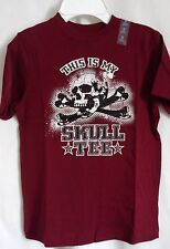 BOYS S 5 6 WINE THIS IS MY SKULL TEE CROSS BONE  SHIRT NWT THE CHILDREN'S PLACE