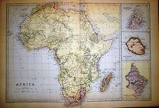 1882 large victorian map ~ afrique ~ insert maurice bourbon natal