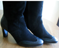 """Talbots Black SUEDE LEATHER 2.5"""" Heels Mid-Calf Spectator Boots 7M NWT $178"""