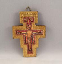 Croce San Damiano foglia oro Assisi S. Chiara legno massello cm12 S. Francesco