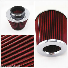 3'' 75mm Red Autos High Flow Cold Air Intake Round Cone Mesh Filter Kit For Ford