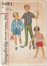 Vintage Boys' Shirt-Jacket and Pants Sewing Pattern S5481 Size 6
