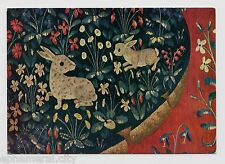 """MODERN POSTCARD - """"Rabbits & Flowers"""" from a tapestry, Soho Gallery card"""