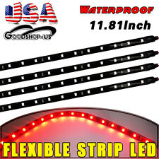 4X 30CM/15 LED Car Boat Truck Motor Waterproof DRL Strip Lights Flexible Red 12V
