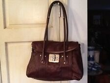 B Makowsky Dark Brown Glove Leather Dual Compartment Satchel Shoulder Bag