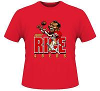 JERRY RICE CARTOON 49ER T-shirt - CUSTOM DESIGN RARE ART **FULL FRONT OF SHIRT**