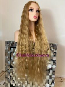 Golden Blonde Wig Wavy Middle Part Extra Long 32 Inch Heat Ok With Baby Hair
