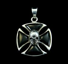 Solid 925 Sterling Silver Black Onyx Iron Cross With Skull Templar Pendant