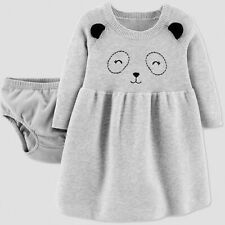 Baby Girls' Panda Knit Sweater Dress - Just One You® made by carter's Gray Sz 3M