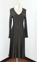 Tianello Womens Black V-Neck Long Sleeve Knit Midi Maxi Dress Size S