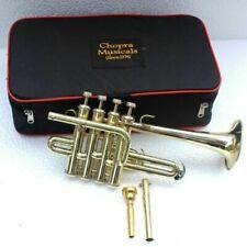 Piccolo Trumpet Shinning Brass 4 Valve with Box High Quality Chopra Ship Fast