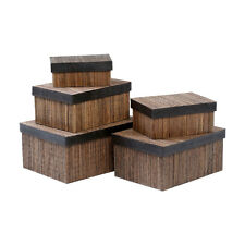 Set of 5 Toys Utilities Storage Boxes in Coconut Stick & Natural - NEW